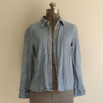1990s French Kuff Denim Button Down Shirt Size Small