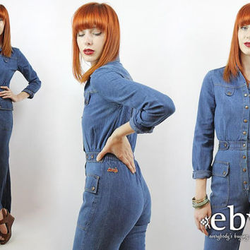 166a5ace375 Vintage 70s Bell Bottom Denim Mechanic Jumpsuit XXS XS Denim Jumpsuit  Vintage Jumpsuit 70s Jumpsuit 70s