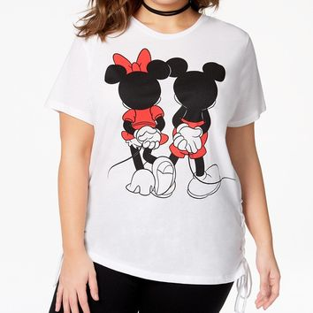 Mad Engine Plus Size Mickey & Minnie Mouse Lace-Up T-Shirt