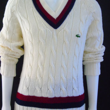 c7941406ffd4 Mens Tennis Sweater Vintage 1960s Izod Lacoste Preppy Cable Knit