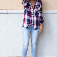 Ava Plaid Button Up Top- navy