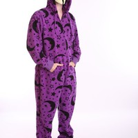 Funzee Wizard Design Fleece Adult Onesuit Non Footed Pajamas, Sizes Petite to Xxlarge (XXLarge)