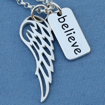 Believe Angel Wing Necklace,Believe Necklace,Believe Jewelry,Believe,Sterling Silver,Angel, Faith,Simple,Everyday,Minimal,Religious