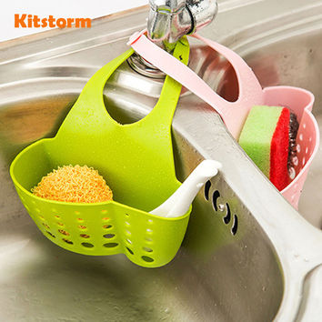 Kitchen Organizer Sink Hangable Storage Basket Faucet Sponge Holder Soap Brush Organization