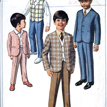 60's Boys' Jacket, Pants / Trousers And Reversible Vest / Waistcoat - Child's Suit - Simplicity 8116 - Vintage Sewing Pattern - Chest 24""