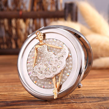 Engrave words free,bling Crystal Mini Beauty pocket mirror,ballet girl angel,makeup compact mirror,souvenir gifts,free shipping