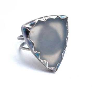 Powder Blue Chalcedony Shield Ring- Natural Stone Ring in Sterling Silver- Size 7
