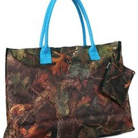 Large & Roomy Camo Leaf Print Tote Travel Bag Shoulder Purse (Blue Trim)