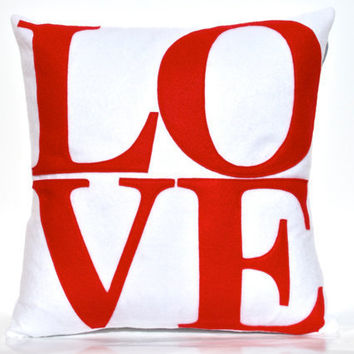 Red Love Pillow Appliqued EcoFelt Cover on Pure by DancingArethusa