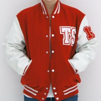 Red & White TS Letterman Tour Jacket