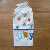 Christmas Joy Hanging Kitchen Towel With Hand Knit Topper and Ties