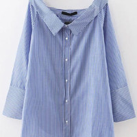 Blue Striped Boat Neck Side Slit Button Top