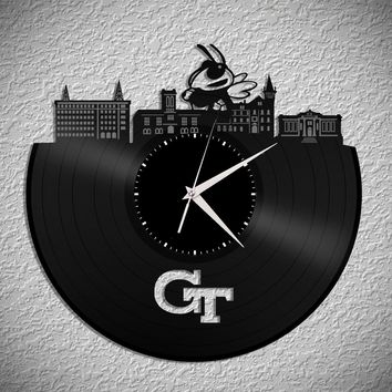 Georgia Tech Art Clock - GA Tech Skyline Clock,  Bumble Bee Wall Clock, GA Clock, Vinyl Record Clock,  Unique Wall Clock,  Large Wall Clock