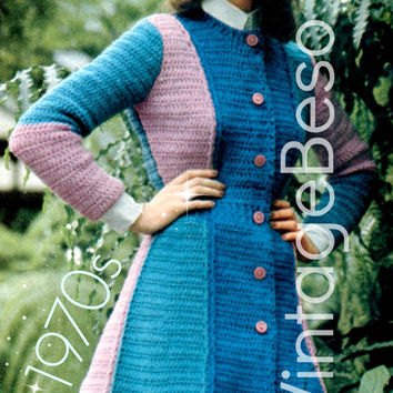 Crochet PATTERN Vintage Flare Sweater Coat 70s Crochet Pattern Panel Tri-Color 7/8th Coat Bohemian Clothing Instant Download PDF