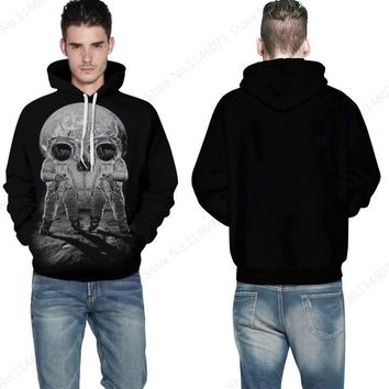 Print moon landing Spacemen Hoody Hoodie White Octopus Skull Hoodies Pullover Skateboard Sweatshirt Men Jacket Skeleton Black
