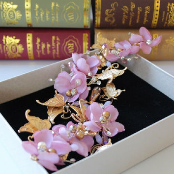 Pink and Gold Butterfly Rhinestone Headpiece