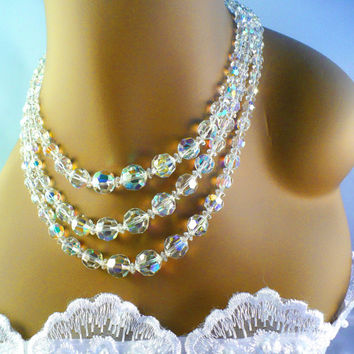 Stunning 1960s Aurora Borealis AB Crystal Necklace with AB Rhinestone Clasp, 3 Strands, Bridal Jewelry Performance Pageant Prom LBD Formal