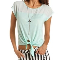 Chiffon Inset Tie-Front Tee: Charlotte Russe