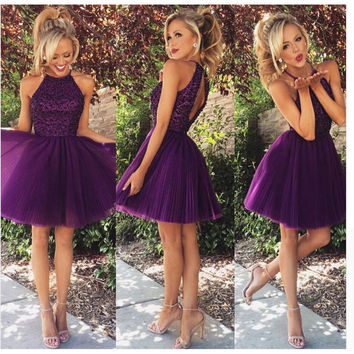 2016 New Arrival Pretty Purple Tulle Beading Top Short Prom Dresses Vestido De Festa Girls Party Dress 2016 Fast Shipping