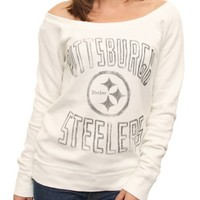 NFL Pittsburgh Steelers Vintage Off the Shoulder Fleece -  - Junk Food Clothing