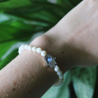 Hamsa Hand Sea Shell & Glass Beaded Bracelet