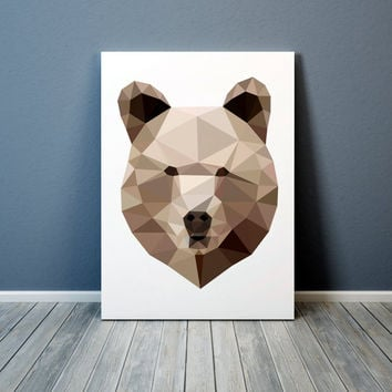 Animal art Colorful decor Geometric bear poster Grizzly print TO306-1
