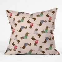 Pimlada Phuapradit Dog Pattern Dachshund Outdoor Throw Pillow