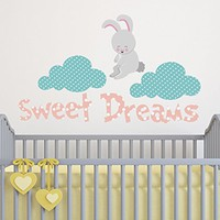 Wall Decals Nursery Sweet Dreams Vinyl Sticker Bunny Decal Clouds Full Color Baby Room Kids Decorations Bedroom Art Design Interior NS2002 (16x28)
