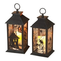 Gerson 2-pk. Halloween Lanterns & LED Pillar Candles - Indoor & Outdoor (Black)