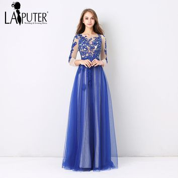Laiputer 2018 African Royal Blue Appliques Lace Crystal Beading Long Sleeves Tulle Cheap Formal Elegant Evening Prom Dresses