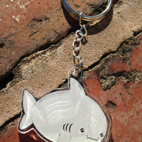 Kawaii acrylic shark keychain or necklace, keyring, cute chubby shark accessory, kawaii jewellery, fairy kei, lolita