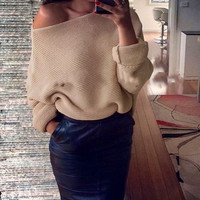 Off Shoulder Sweater Women Batwing Sleeve Knitted Sweaters Oversized Sexy Autumn Winter Sweater Jumpers Women Clothing LJ5782T