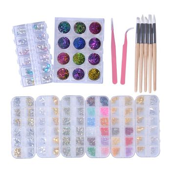 26PCS/Sets Nail Art Rhinestones Glitter Chemeleon Gem Jewelry Nail Salon Decorations Manicure Tweezer Brushes Tools Kits CH146