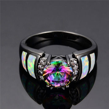 Rainbow Fire Opal Finger Rings Black Gold Filled