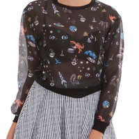 Happy Moments Organza Sweatshirt - Black Print