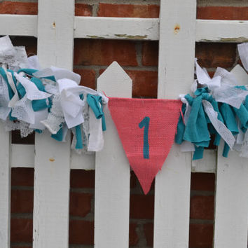 Pink and Aqua 1st birthday High Chair fabric banner with #1 in aqua birthday decor scrappy high chair banner Ready To Ship