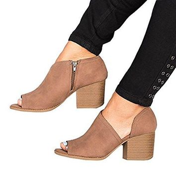Women Low Heel Ankle Booties Slip On Vegan Suede Leather Cut Out Chunky Block Stacked Peep Toe Ankle Boots Shoes