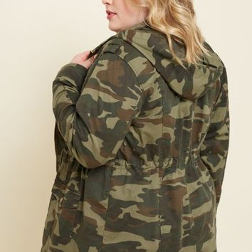 Plus Olive Camo Print Hooded Anorak Jacket