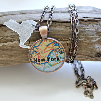 Manhattan New York City Necklace Combo Map Pendant and Resin State Charm with 24 Inch Necklace Chain and Gift Box