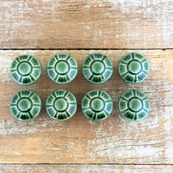 Drawer Knobs 8 Drawer Pulls Green Ceramic Knobs with Raised Cabinet Drawer Pulls Dresser Drawer Knobs Mid Century Hardware Cottage Chic