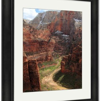 Framed Print, View Zion Canyon From West Rim Trail Zion National Park Utah