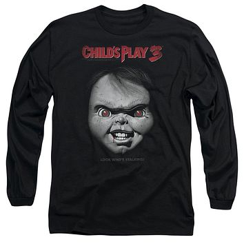 Childs Play Long Sleeve T-Shirt Chucky Look Whos Stalking Black Tee