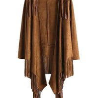 Brown Waterfall Front Tasseled Long Sleeve Faux Suede Cape Kimono