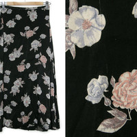 Vintage Floral Skirt~Size Small~Waist 26~90s High Waisted Maxi Black Blue Pink Purple Flower Skirt~By Clothes Circuit