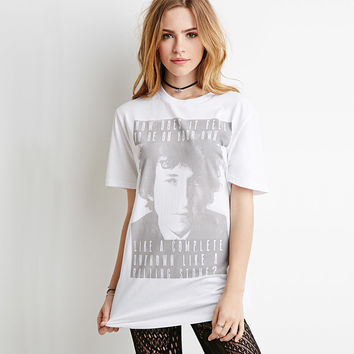 Casual Picture And Letter Printed White Shirt