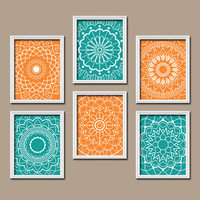 Wall Art Kitchen Bedroom Bathroom Mandala Flower Canvas Artwork Custom Colors Turquoise Orange Botanical Set of 6 Dahlia Flower Petal Decor
