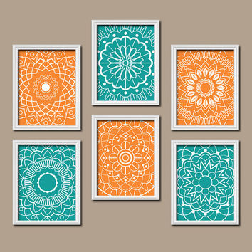 Wall Art Kitchen Bedroom Bathroom Mandala Flower Canvas Artwork Custom Colors Turquoise Orange Botanical Set Of