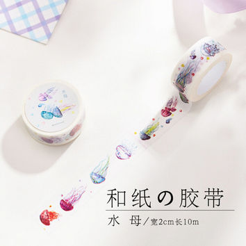 JC204 2CM Wide Cute Colorful Jellyfish Washi Tape Adhesive Tape DIY Scrapbooking Sticker Label Masking Tape