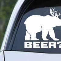 Bear plus Deer equals BEER Die Cut Vinyl Decal Sticker
