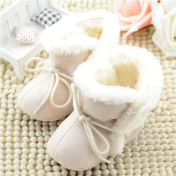 New Cozy Baby Shoes 3 Colors Winter Baby Girl Tie Up Booties Newborn Toddlers Kid Cozy Crib Shoes